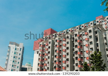 Housing Development board building in Singapore - stock photo