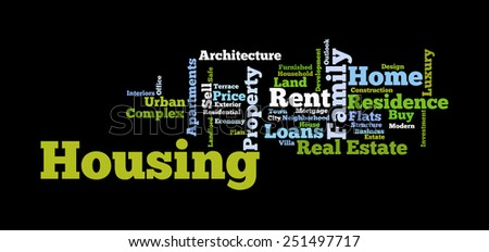 Housing Word cloud/Tag cloud:Property info-text graphics arrangement substantiating the prime concept of Housing and the world of real estate and the words associated with it - stock photo
