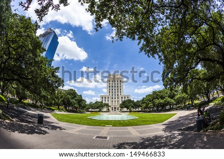 Houston City Hall with Fountain and Flag - stock photo