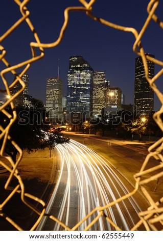 Houston City skyline at night - stock photo