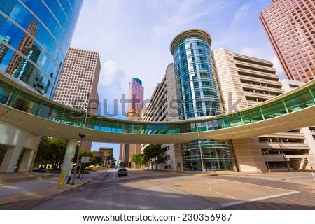 Houston cityscape from Bell and Smith St in Texas US - stock photo