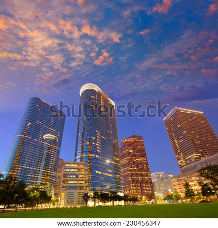 Houston Downtown skyline sunset modern skyscrapers at Texas US USA - stock photo