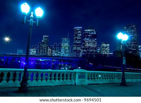 Houston skyline at night with bridge in foreground - stock photo