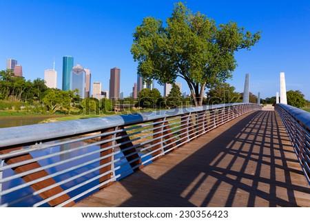 Houston skyline from Memorial park at Texas USA US - stock photo
