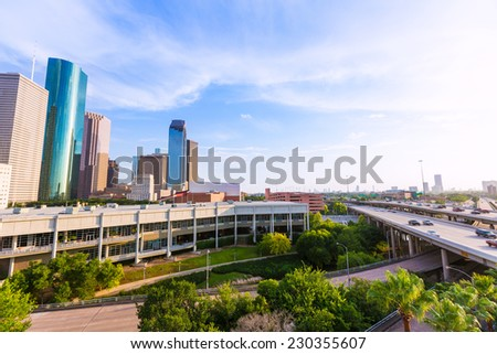 Houston Skyline North view aerial in Texas US USA - stock photo