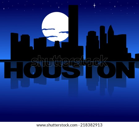 Houston skyline reflected with text and moon illustration - stock photo