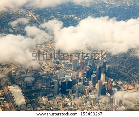 Houston Texas cityscape view from aerial view airplane - stock photo
