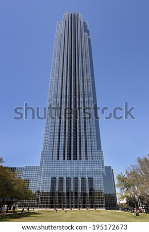 HOUSTON, TEXAS - MARCH 26, 2013: A Building of Williams Tower in Houston, Texas. The Williams Tower is a 64 story near Galleria. It began construction in Aug., 1981 and was completed in Dec., 1982. - stock photo