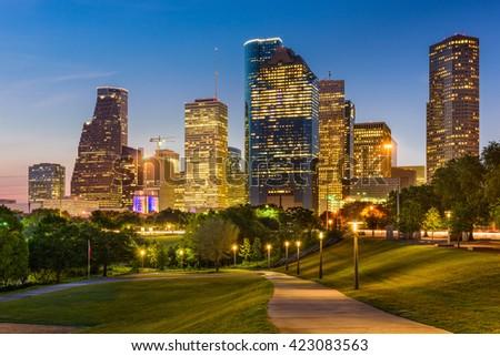 Houston, Texas, USA park and downtown skyline. - stock photo