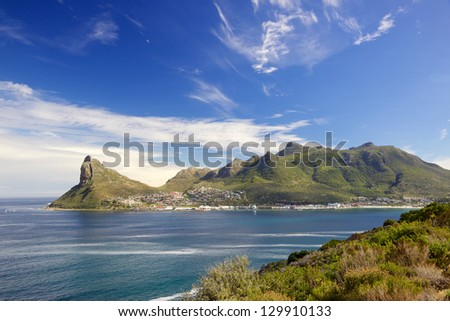 Hout Bay and The Sentinel as seen from Chapman's Peak Drive, Cape Peninsula, South Africa. - stock photo
