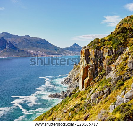 hout bay view from chapman's peak, Cape Town area, south africa - stock photo