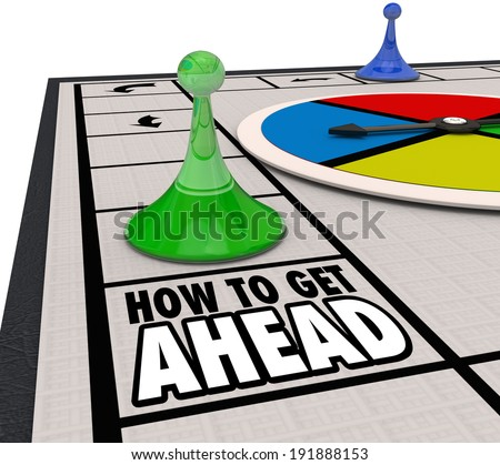 How to Get Ahead words on a board game advance your career - stock photo