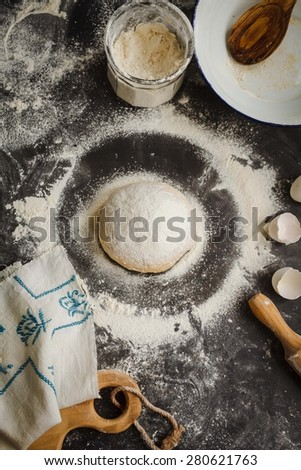 how to knead a homemade pasta dough - stock photo