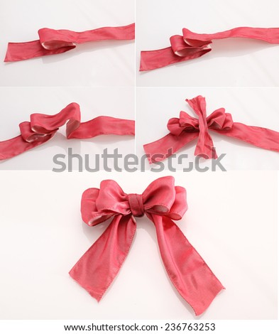 How to make a bow - step by step - stock photo