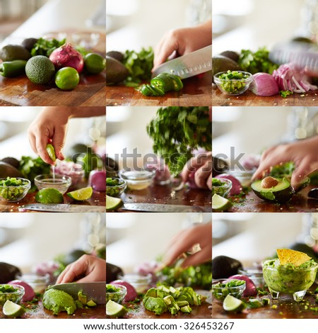 how to make guacamole recipe collage - stock photo