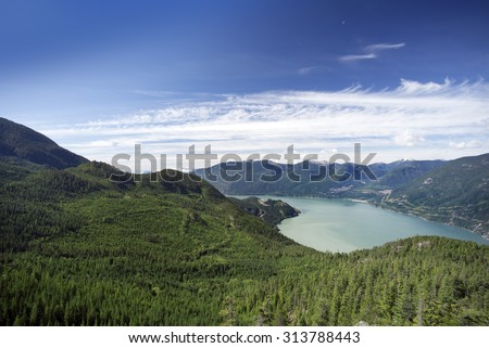 Howe Sound and Coast Mountains by Squamish, British Columbia, Canada - stock photo