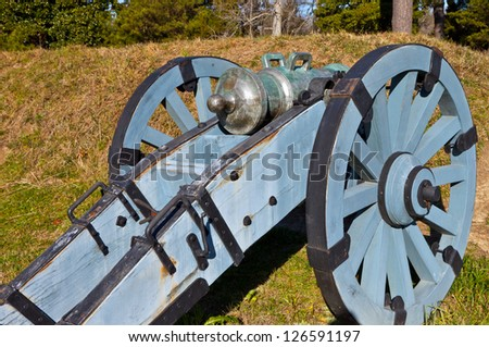Howitzer at Yorktown Historic Battlefield, Yorktown, Virginia - stock photo