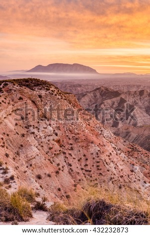 Hoya de Guadix, northwest of the city of Granada in Andalusia, Spain - stock photo