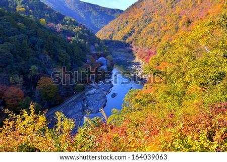 hozu river arashiyama kyoto - stock photo