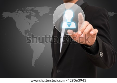 HR concept  business man selecting virtual interface. - stock photo
