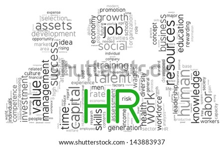 HR - human resources concept in word tag cloud  of people shape on white background - stock photo