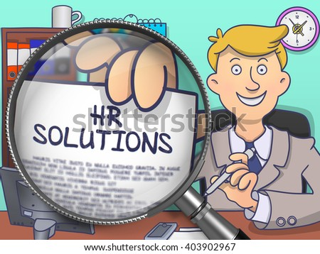 HR Solutions. Cheerful Officeman Welcomes in Office and Shows Paper with Inscription through Magnifying Glass. Multicolor Doodle Illustration. - stock photo