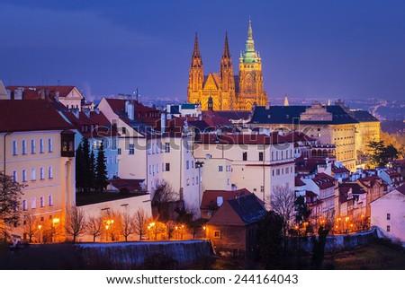 Hradcany with Prague castle during twilightm, Prague, Czech Republic - stock photo