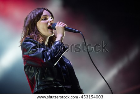 HRADEC KRALOVE - JULY 5: Singer Lauren Mayberry of Chvrches during performance at festival Rock for People in Hradec Kralove, Czech republic, July 5, 2016. - stock photo
