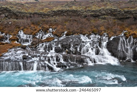 Hraunfossar Waterfall, Iceland - stock photo