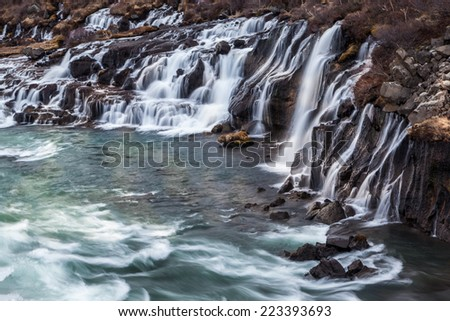 hraunfossar waterfall in Iceland - stock photo