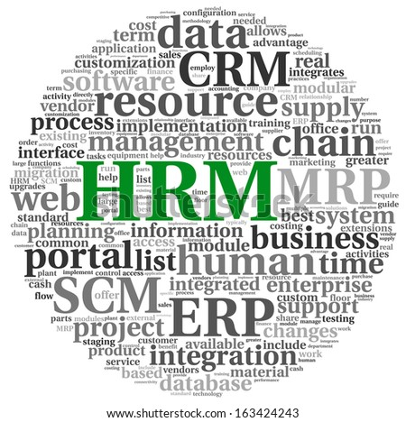 HRM Human resource management concept in tag cloud on white background - stock photo
