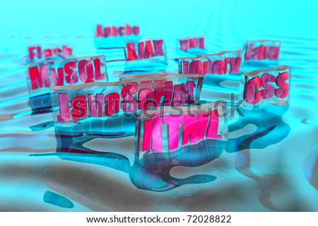 HTML and around Building a website - stock photo
