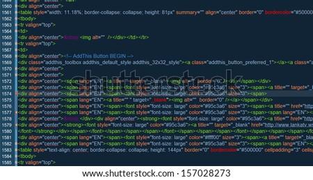 HTML code on a dark background  - stock photo