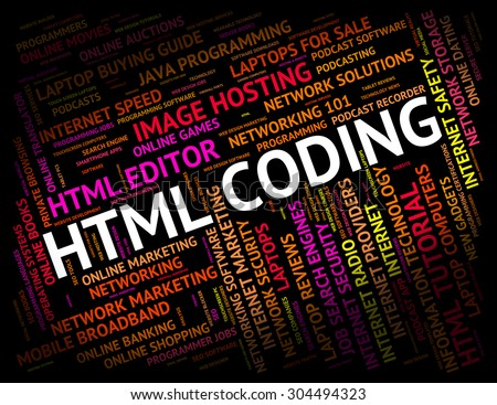 Html Coding Indicating Hypertext Markup Language And Text Cipher - stock photo