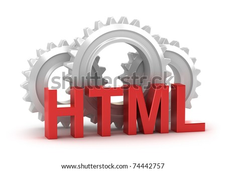 HTML concept isolated on white - stock photo