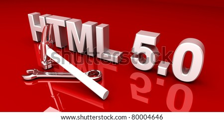 HTML 5.0 tools. 3D rendered Illustration. - stock photo