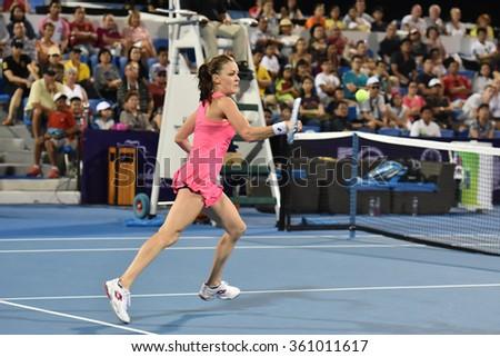 HUA HIN-JAN 1:Agnieszka Radwanska of Poland in action during a match of WORLD TENNIS THAILAND CHAMPIONSHIP 2016 at Hua Hin Centennial Club on January 1, 2016 in Hua Hin, Thailand - stock photo