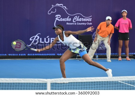 HUA HIN-JAN 1:Venus Williams of United States in action during a match of WORLD TENNIS THAILAND CHAMPIONSHIP 2016 at Hua Hin Centennial Club on January 1, 2016 in Hua Hin, Thailand - stock photo