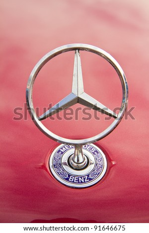 HUA HIN, THAILAND - DEC 16: Mercedes-Benz logo Vintage cars display in Hua Hin Vintage Cars Parade Festival 2011 at Hua Hin floating market on December 16, 2011 in Hua Hin, Thailand. - stock photo