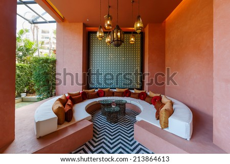 """HUA HIN, THAILAND - MAY 23: Lobby of Marrakech Hotel on May 23, 14 in Hua Hin. The design of the hotel was Inspired by rich and colorful culture of Morocco's Marrakech or """"a city of red"""". - stock photo"""