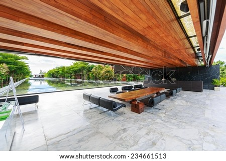 HUA HIN, THAILAND - SEP 6: Lobby of Hotel De La Paix on Sep 6, 2014 in Hua Hin. The hotel was designed by maverick, iconoclast and visionary architect and designer Duangrit Bunnag. - stock photo