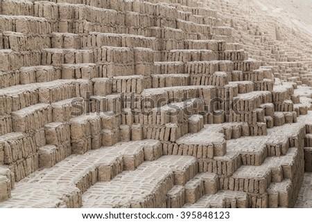 Huaca Pucllana, Juliana or Wak'a Pukllana -  great adobe and clay pyramid in Miraflores, Lima, Peru - stock photo