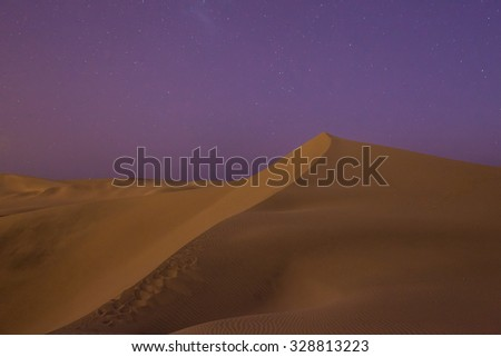 Huacachina desert dunes at night, Ica Region, Peru - stock photo