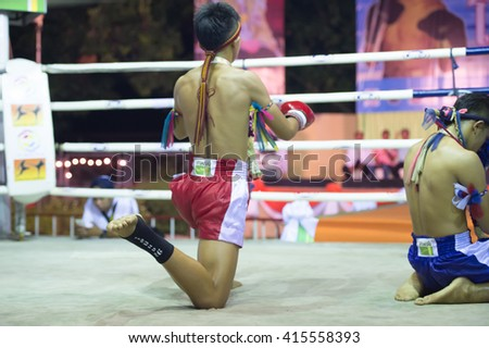 HUAHIN THAILAND-16APR,2016:Unidentified people,Boxer Victory Lane,Thai boxing Martial Art of Thailand at huahin,thailand on 16 april 2016 - stock photo