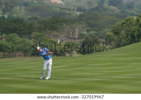 HUAHIN, THAILAND-FEBRUARY 12: Lionel Weber of France in action during Round 1 of 2015 True Thailand Classic on February 12, 2015 at Black Mountain Golf Club in Hua Hin, Thailand - stock photo
