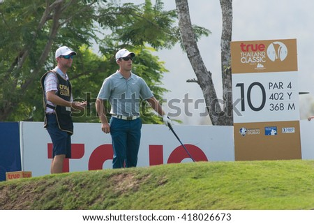 HUAHIN, THAILAND-FEBRUARY 12: Romain Wattel of France in action during Round 1 of 2015 True Thailand Classic on February 12, 2015 at Black Mountain Golf Club in Hua Hin, Thailand - stock photo