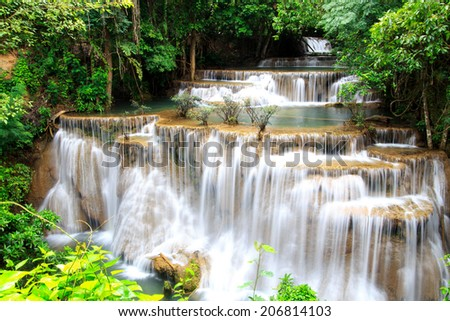 Huai Mae Khamin waterfall in deep forest, Thailand  - stock photo