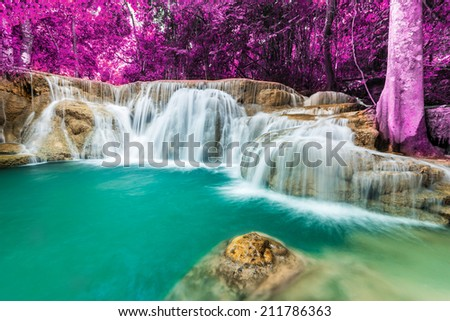 Huai Mae Khamin waterfall in deep forest, Thailand. - stock photo