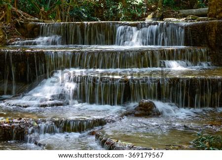 Huai Mae Khamin Waterfall in Thailand - stock photo