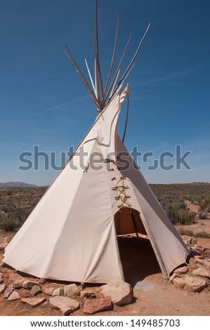 Hualapa Indian tipi in Nevada, USA - stock photo